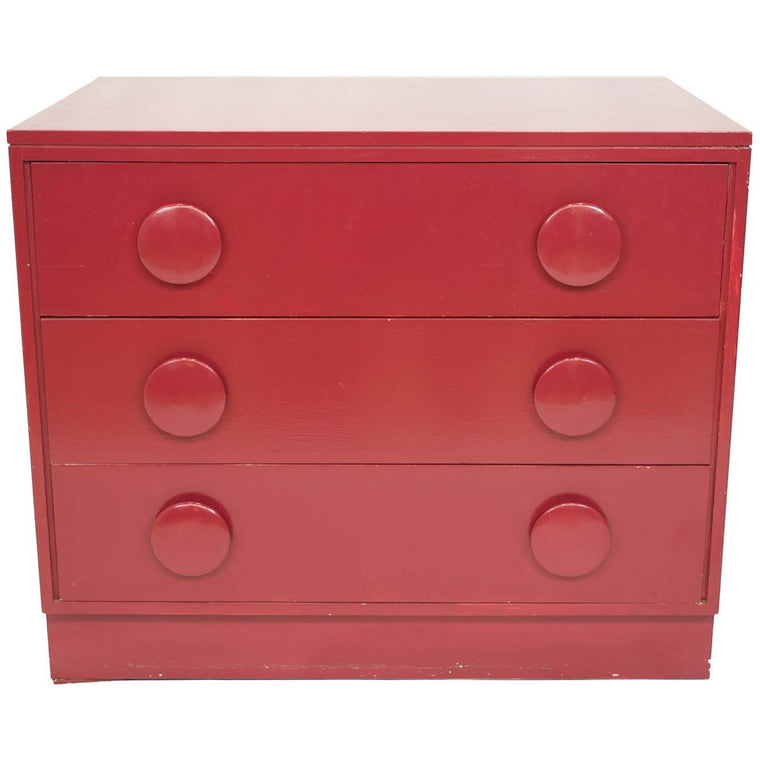 Mid-Century Glossy Red Side Chest