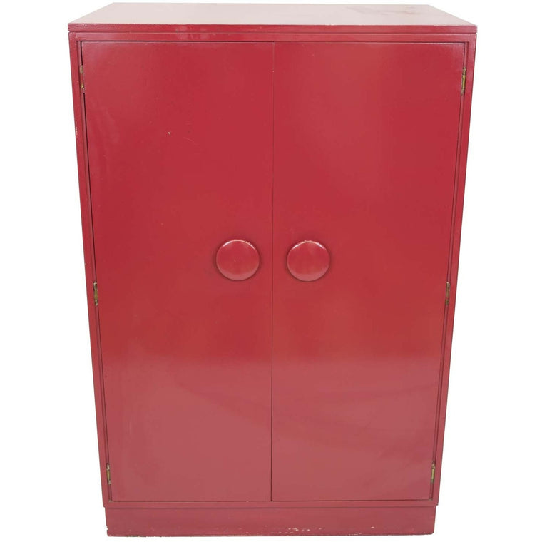 Mid-Century Glossy Red Wooden Wardrobe