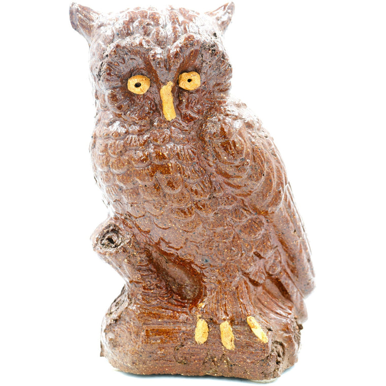 Large Owl on a Branch Sewer Tile Sculpture