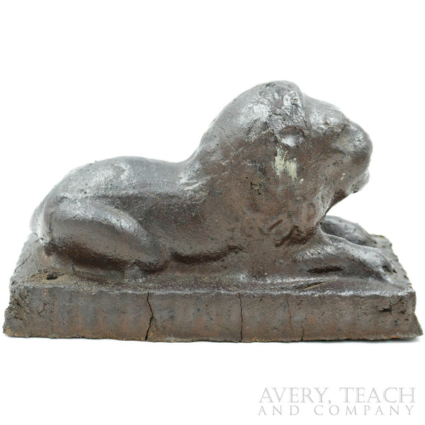 Lion Glazed Sewer Tile Sculpture - Avery, Teach and Co.