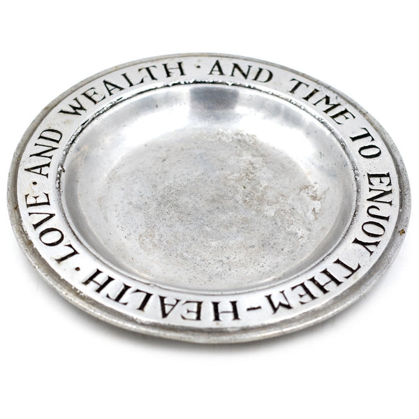 "Pewter ""Health and Wealth"" Plate"