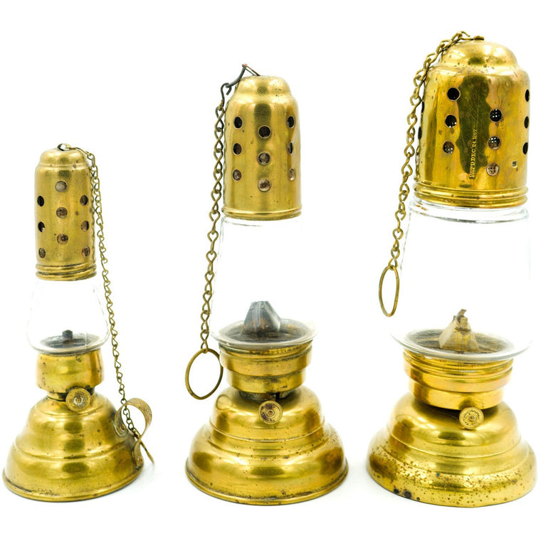 Brass Oil Lamps (Set of 3)