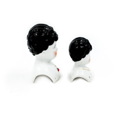 Embellished 19th Century German China Doll Heads (Set of 2)