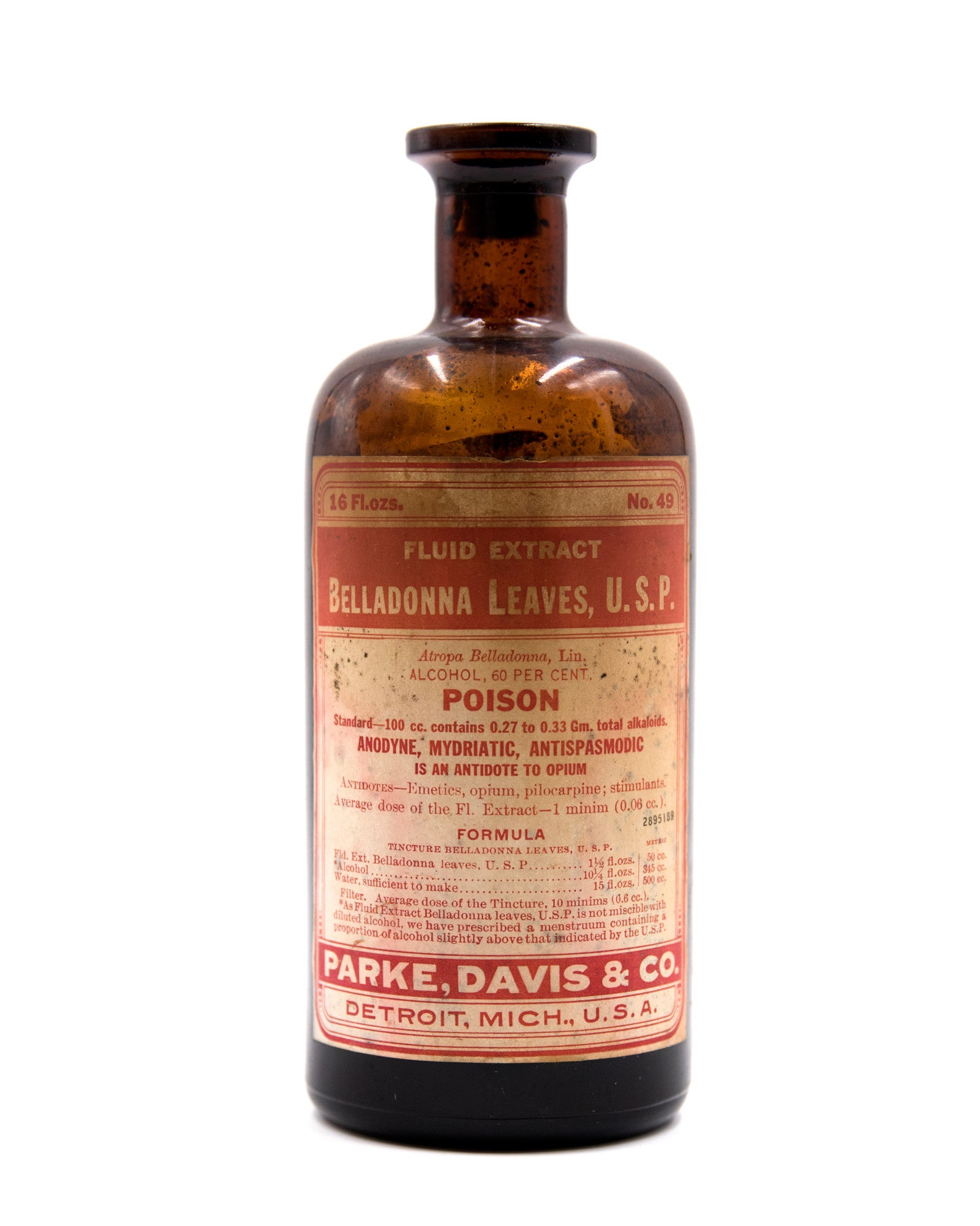 Glass Bottle - Fluid Extract Belladonna Leaves - Parke Davis & Co