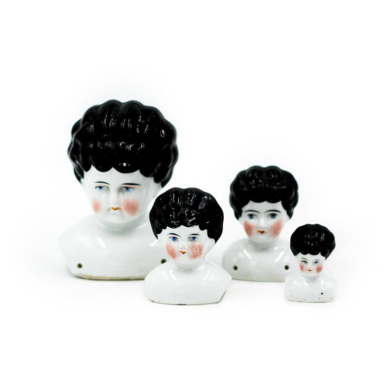 19th Century German China Doll Heads (Set of 4)