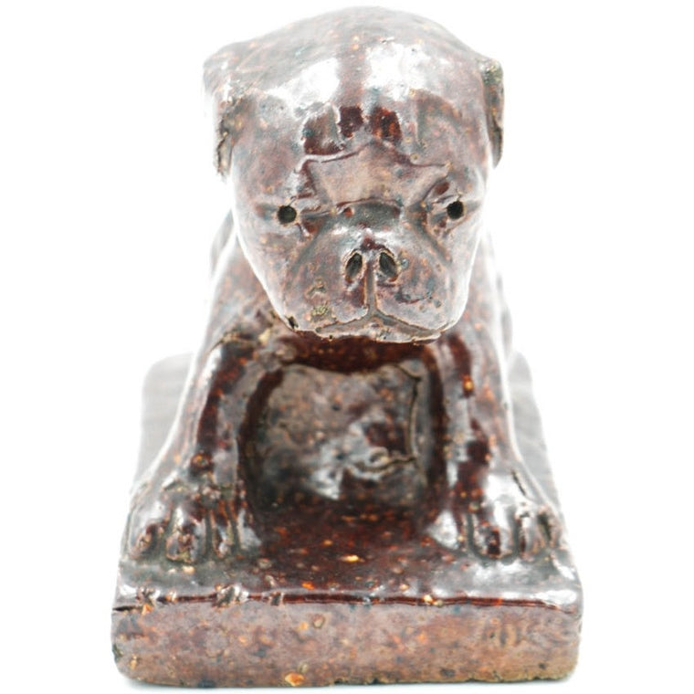 Bulldog Glazed Sewer Tile Sculpture