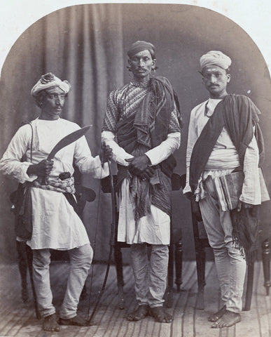 "A Gurkha, a Brahmin and a Sood (Sudra) in traditional garb, Simla"", ca.1868"