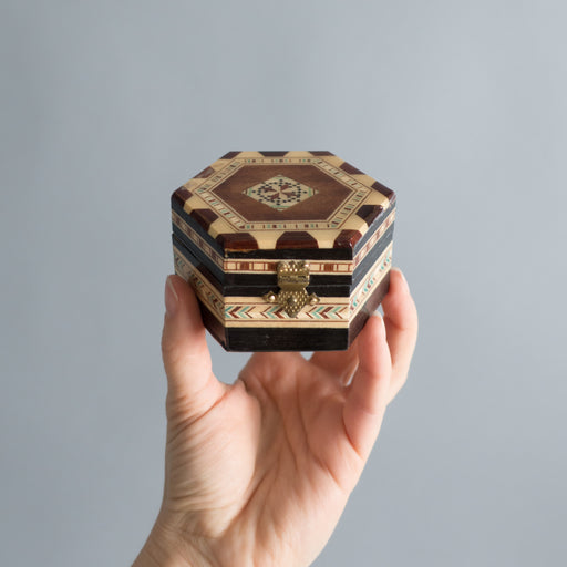 Vintage Wooden Mosaic Inlay Ring Box | Middle Eastern Marquetry Decorative Arts