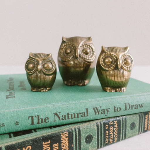 Set of 3 Vintage Brass Owls