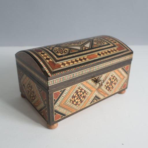 Vintage Wooden Inlay Jewelry Box | Middle Eastern Marquetry Decorative Arts