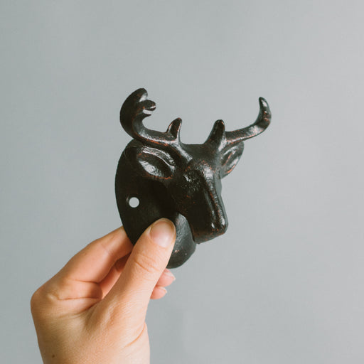Vintage Cast Iron Moose Head Hat Hook