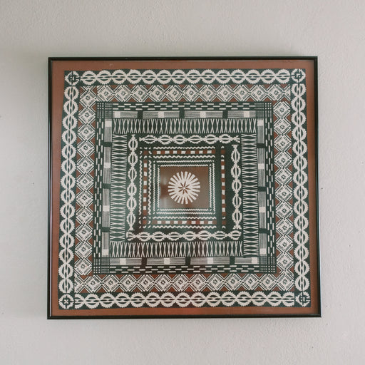 Vintage Framed Tapa Cloth | Brown and Black Bark Cloth Decor