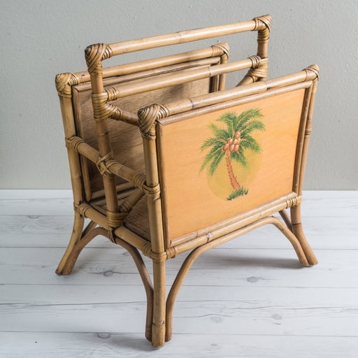 Vintage Bamboo Palm Tree Magazine Rack