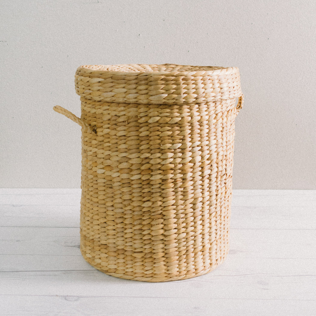 Vintage Lined Basket Laundry Hamper