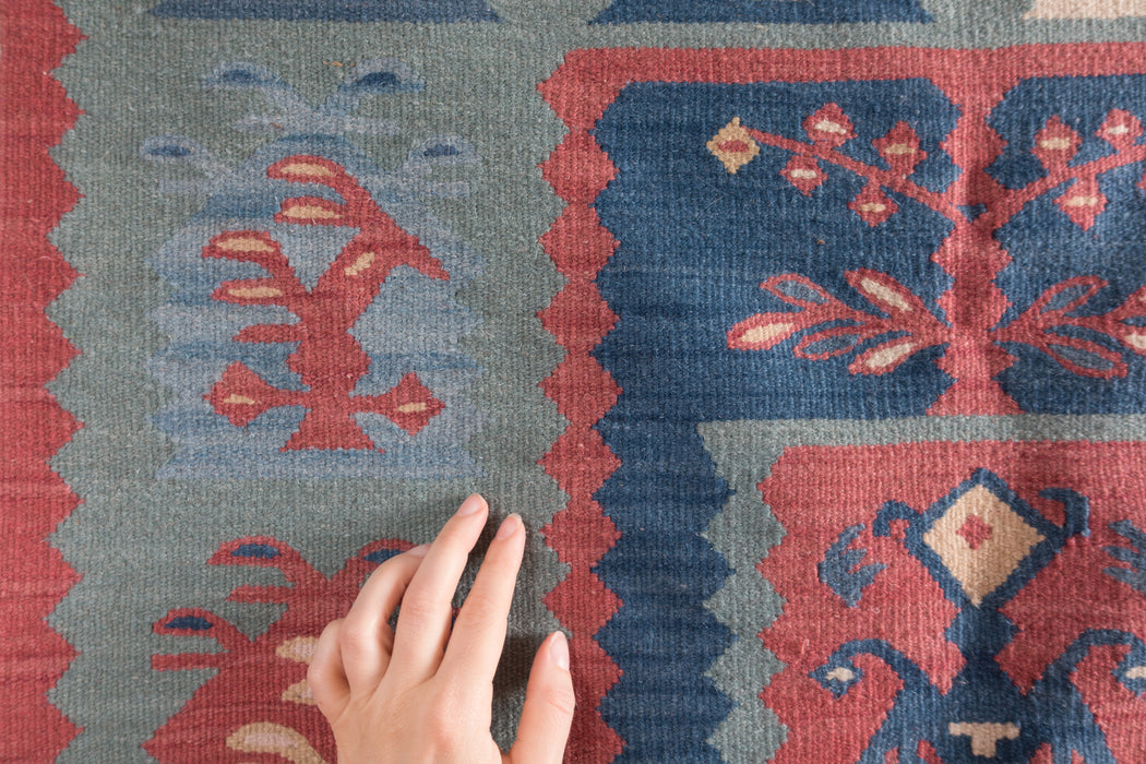 Small Vintage Turkish Rug | Flat Weave Kilim Carpet