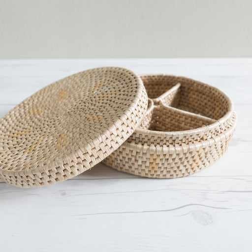 Vintage Divided Straw Basket with Fitted Lid