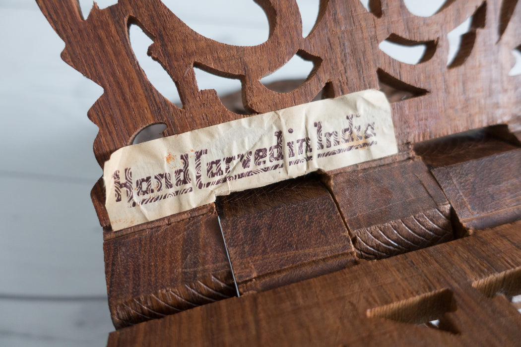 Vintage Carved Olive Wood Book Display