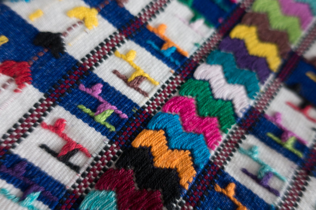 Vintage Guatemalan Textile | Hand Embroidered Blue Stripe Raw Fabric