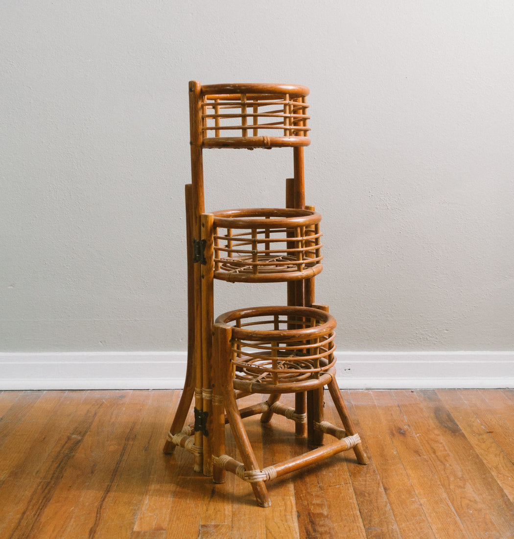 Vintage Folding Rattan Three Tier Plant Stand