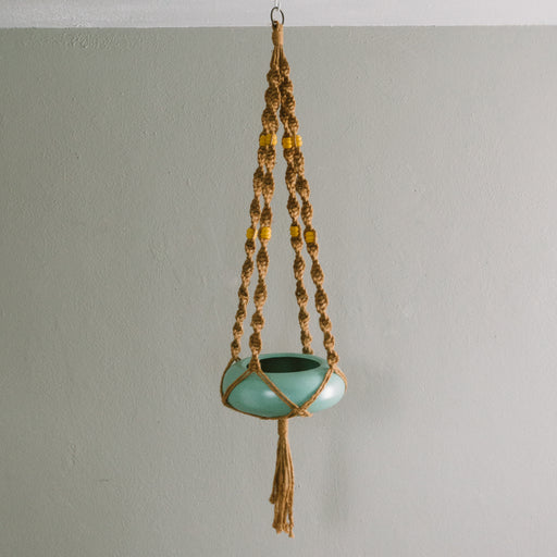 Vintage Brown Macrame Hanging Planter