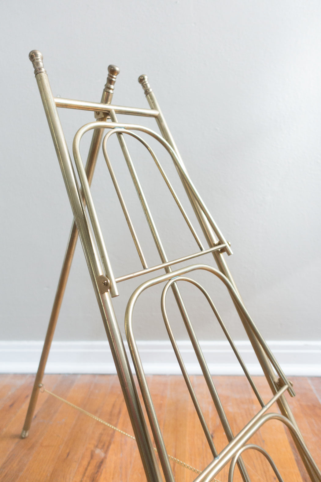 Antique Three Tier Brass Easel Magazine Rack