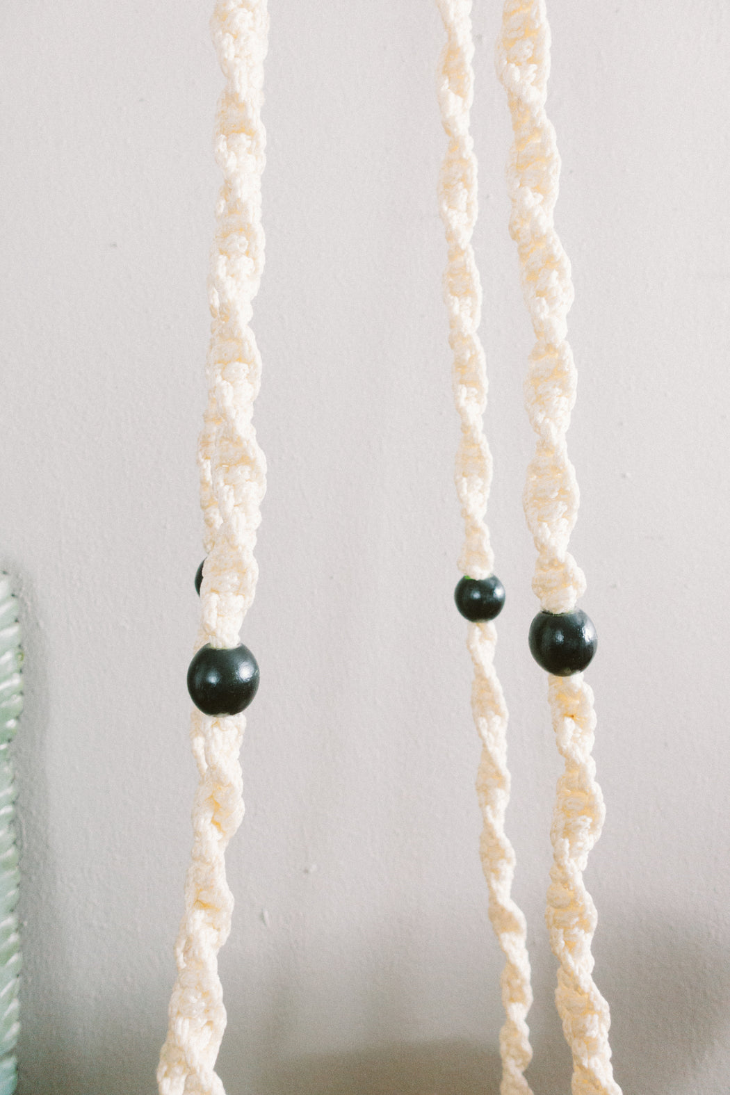Vintage Black and White Macrame Plant Hanger