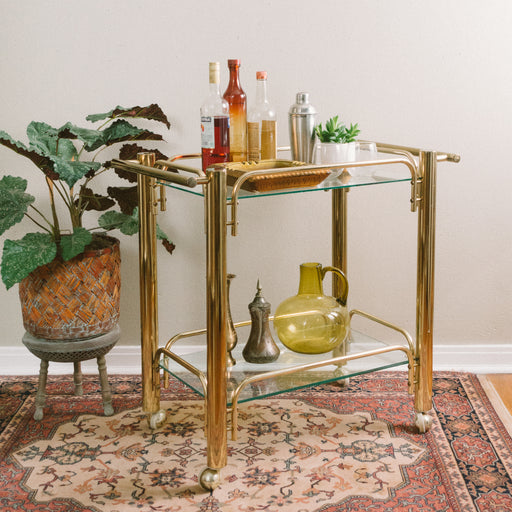 Vintage Chunky Brass and Glass Bar Cart