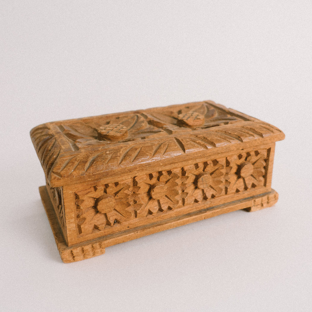 Vintage Hand Carved Wooden Box