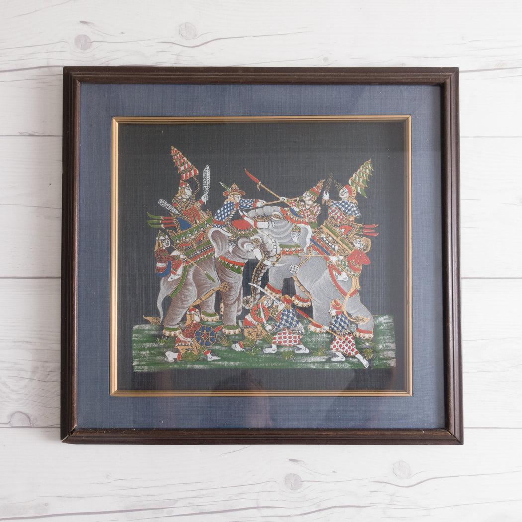 Vintage Framed Indonesian Screenprint Art