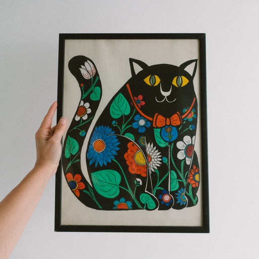 Vintage Framed Black Cat Painting