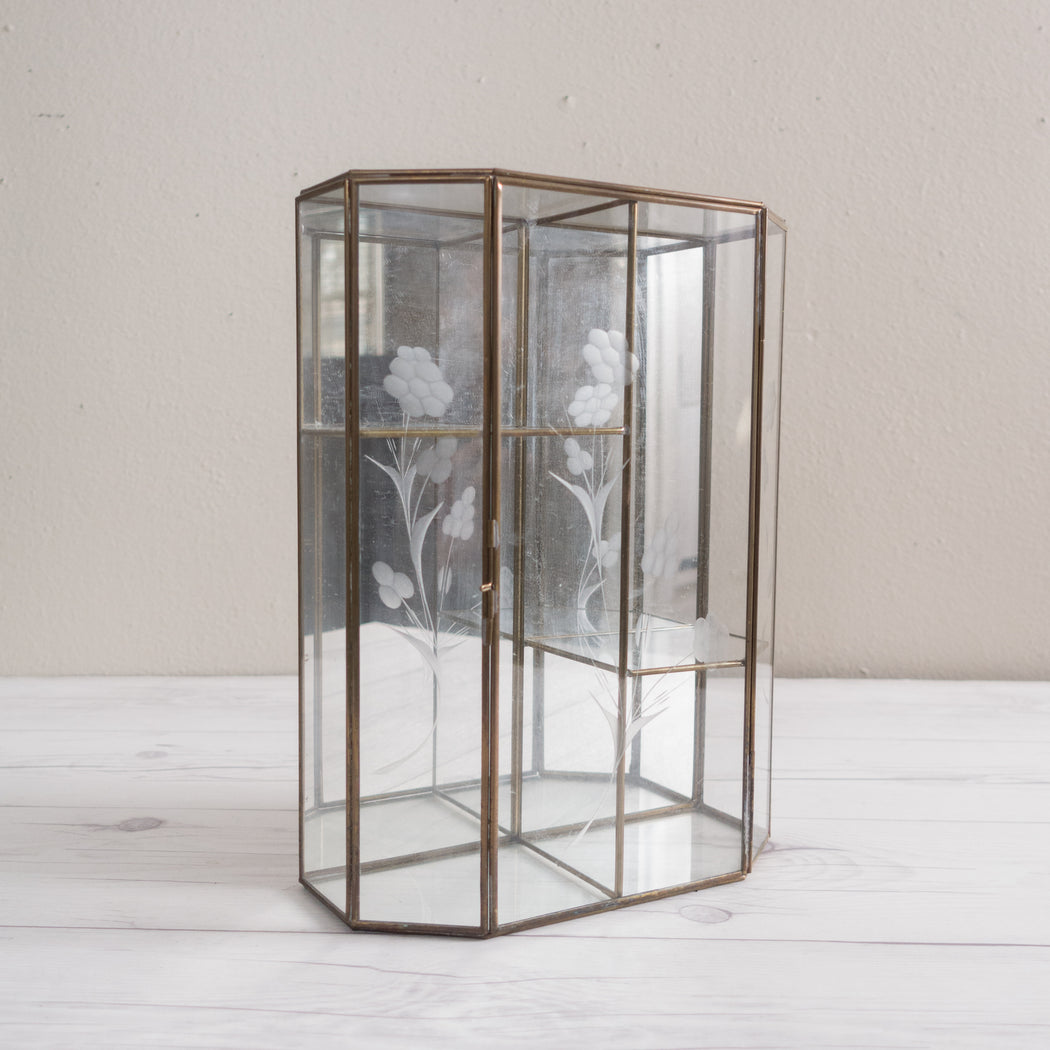 "12"" Vintage Glass Curio Tiered Display Box"