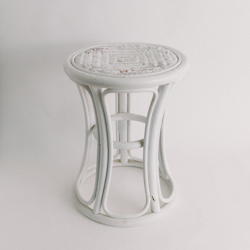 Vintage White Bentwood Plant Stand Side Table