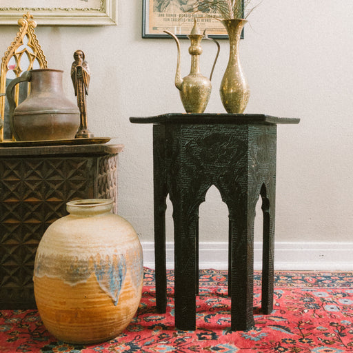 Vintage Carved Wood Moroccan Table