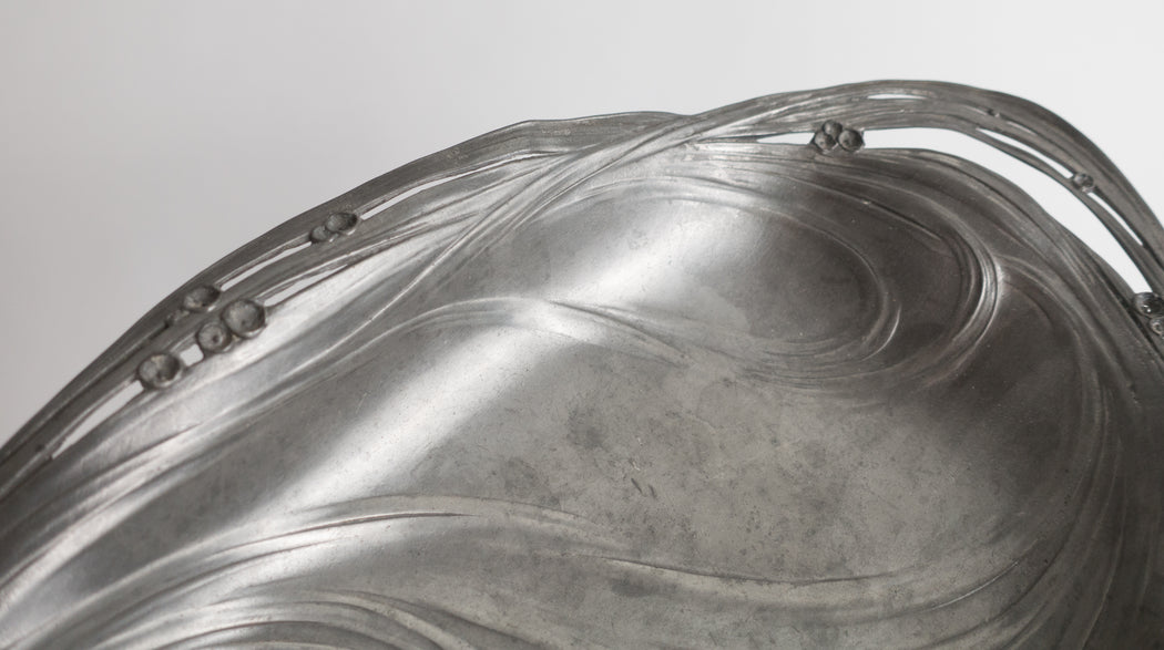 Art Nouveau Bowl | Antique German Juventa Pewter Platter