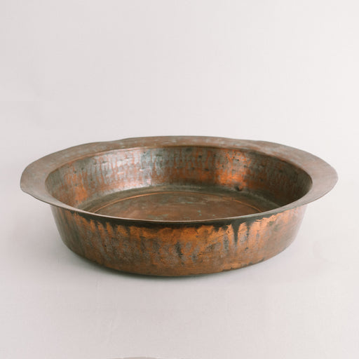 Antique Hammered Copper Shallow Basin