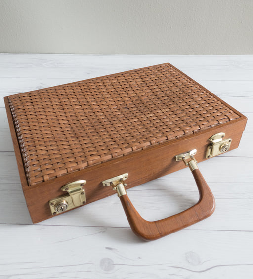 Vintage Woven Plastic and Wooden Briefcase