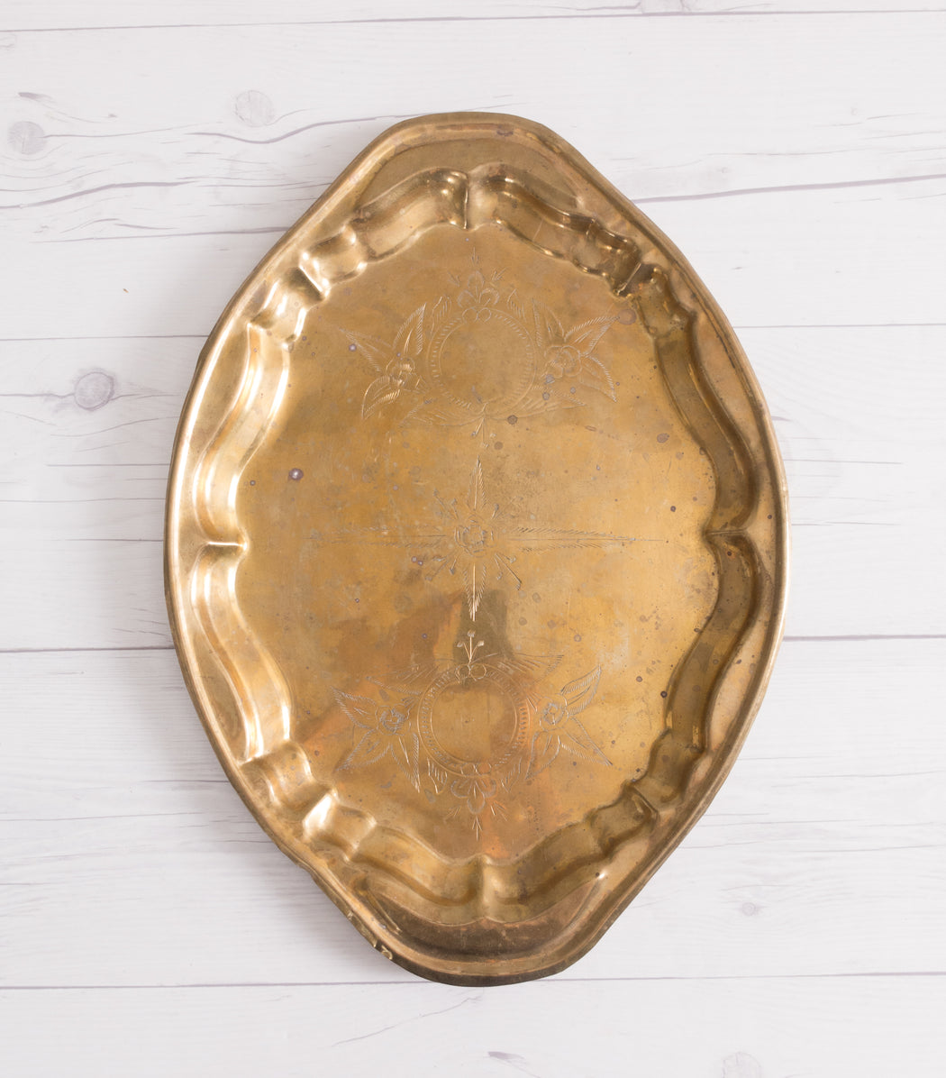 "16"" Engraved Brass Oval Serving Tray"