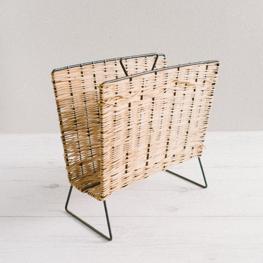 Mid Century Wicker and Iron Magazine Rack