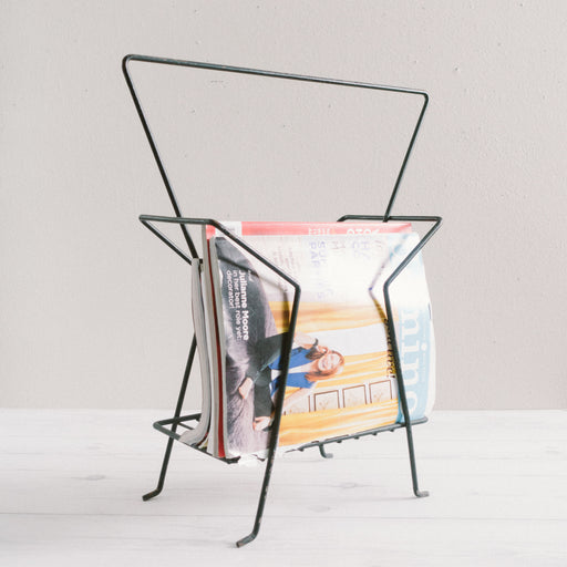 Mid Century Black Iron Magazine Rack
