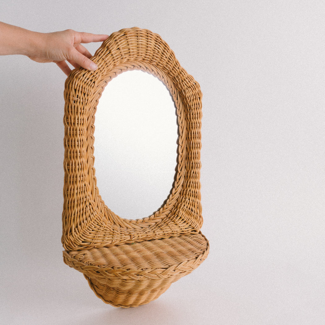 Vintage Wicker Mirror with Shelf