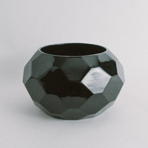Vintage Black Geometric Planter Pot