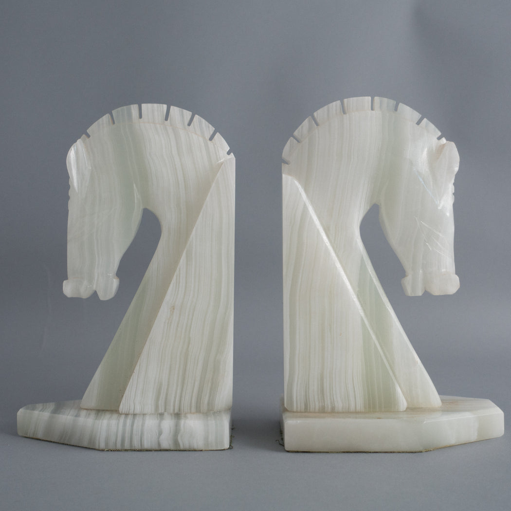 Vintage Onyx Horse Head Bookends  | Library Decor Pair