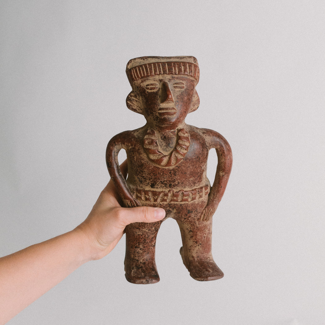 Vintage Mayan Pottery Figurine | Pre Columbian Art Reproduction