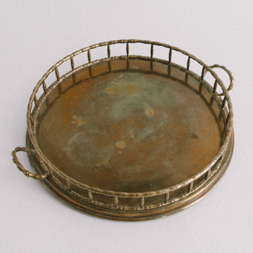 "12"" Round Brass Serving Tray"