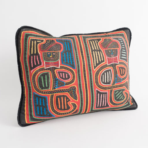 Vintage Mola Pillow | Panama Quilted Pillow with Bowtie Men