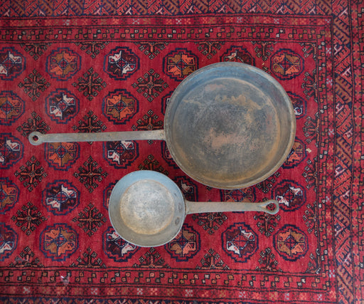 Set of Two Vintage Hammered Cooking Pans