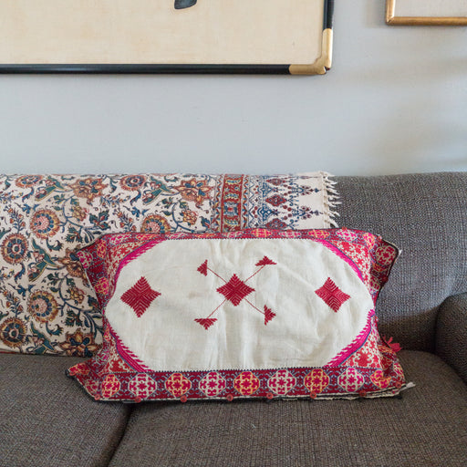 Vintage Embroidered Lumbar Accent Pillow