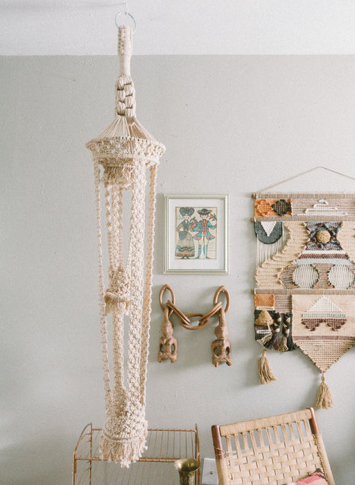 Vintage Two Tier Macrame Hanging Planter