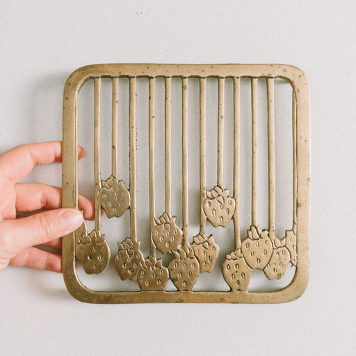 Vintage Brass Strawberry Trivet