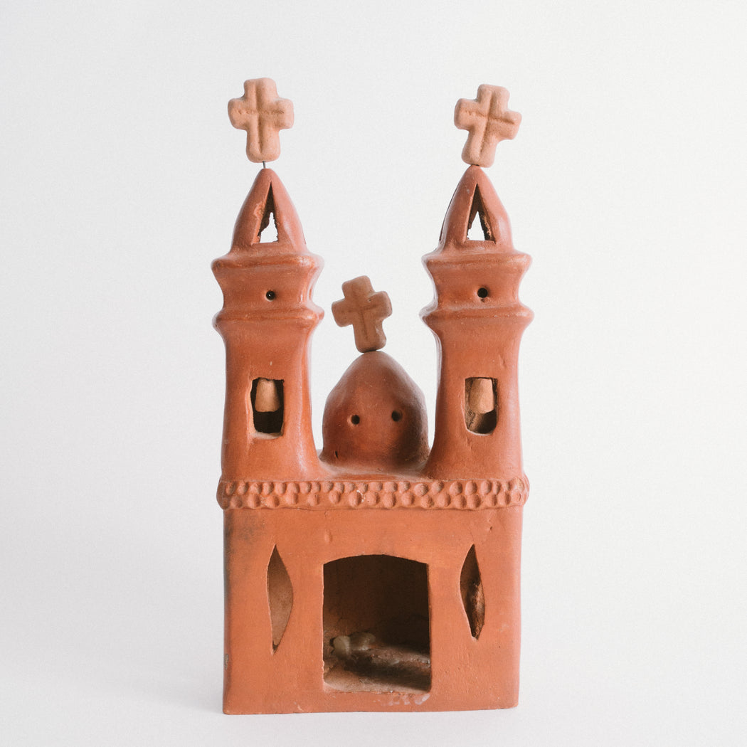 Vintage Miniature Clay Pueblo Church | Mexico Folk Art Decor